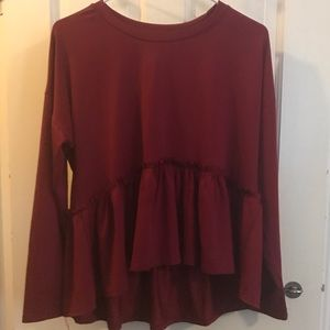 RED LONG SLEEVE SHIRT WITH RUFFLE DETAILING!!